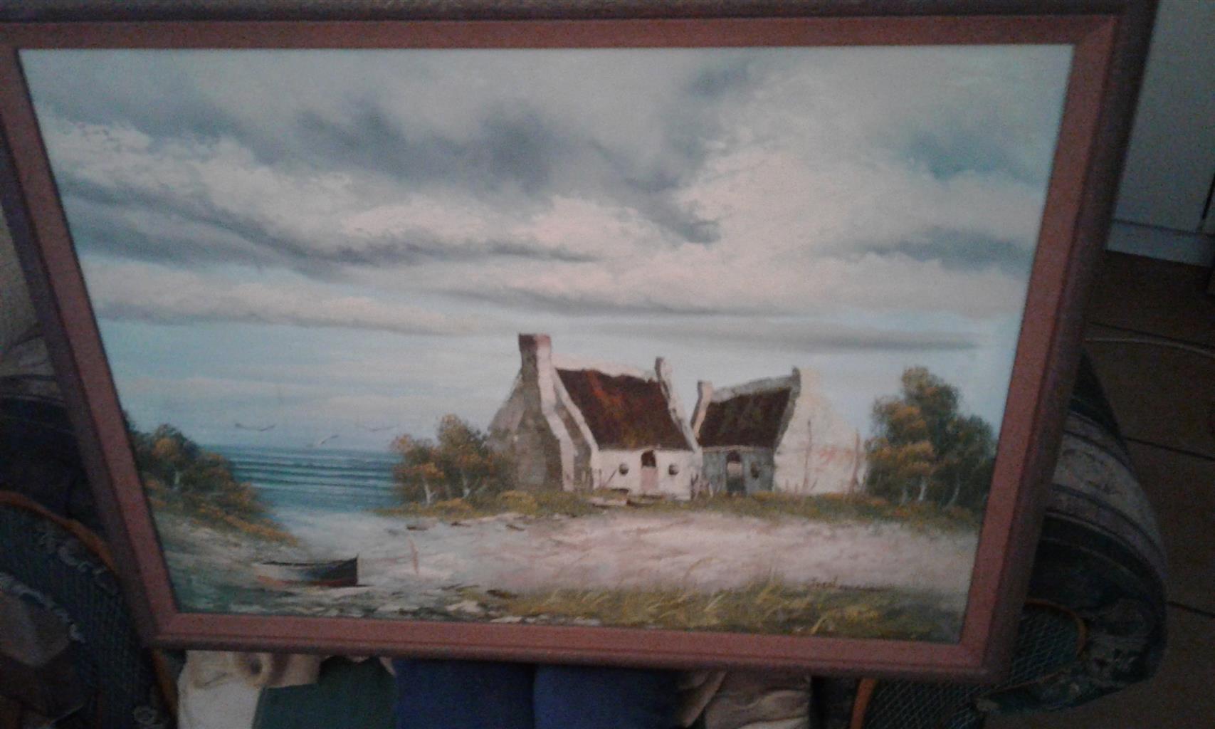 2 Paintings, framed
