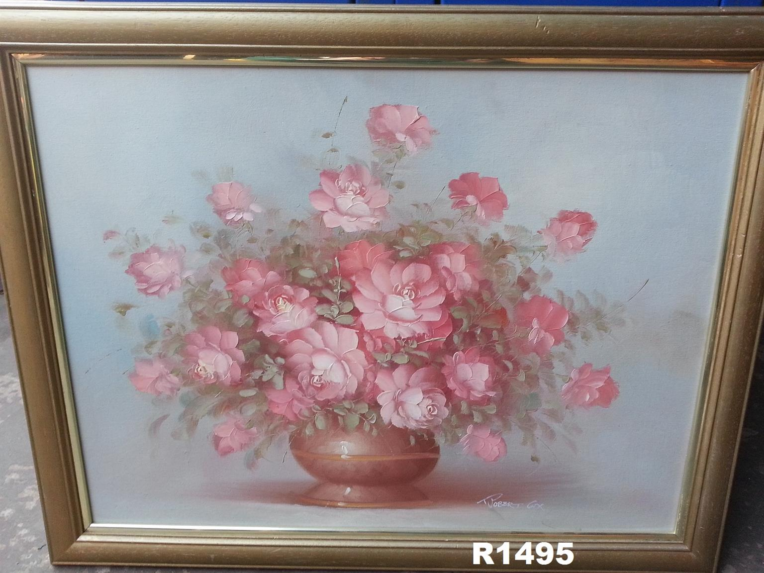 Robert Cox Oil Painting round vase (700x545)