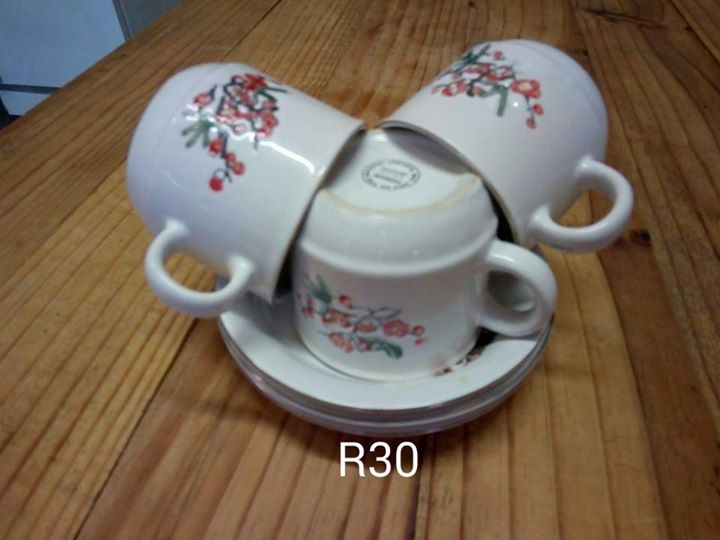 Red flower cup and saucer set