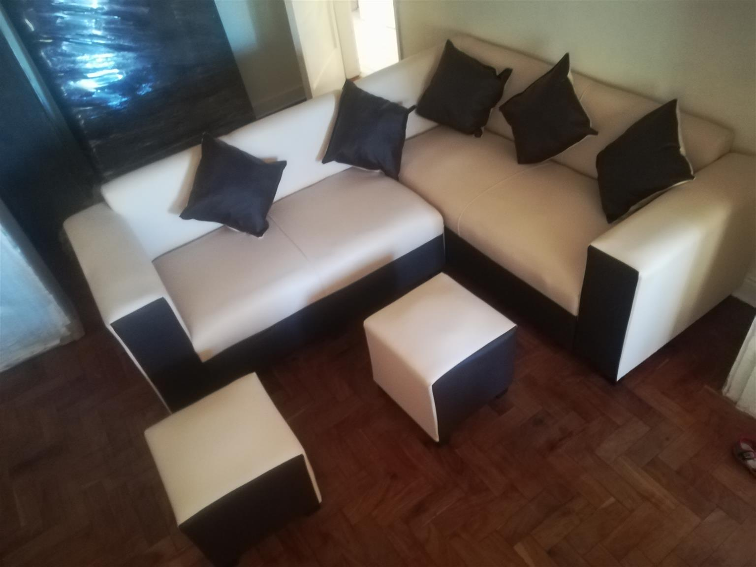 New cream and brown corner couch