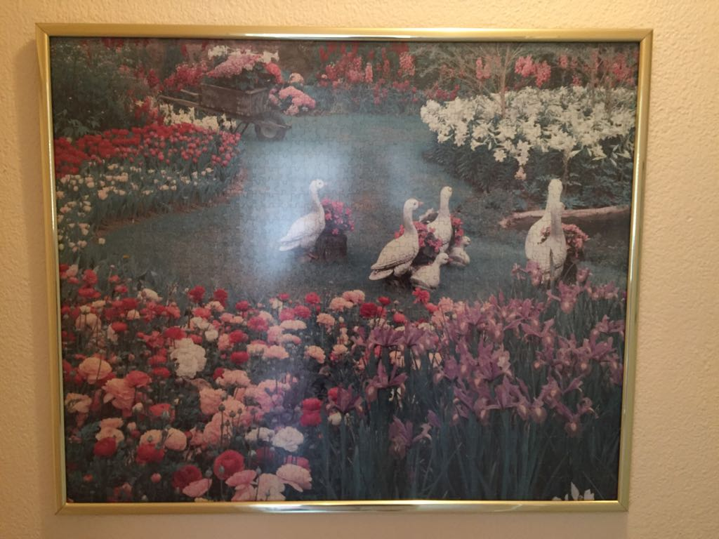 1000 piece puzzle of ducks and flowers in a garden