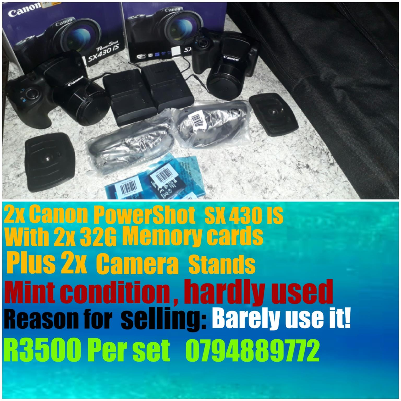 2x Brand new Canon  SX 430 IS, 32G memory card, and Camera stands for sale