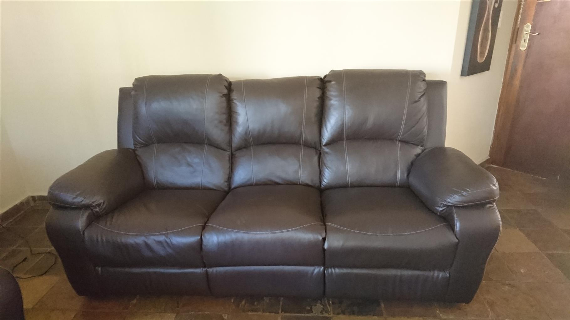 3 Seater Leather recliner couch for sale