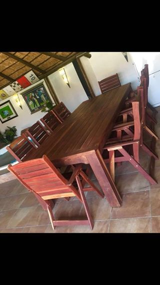 For Sale: 10 Seater Rhodesian Teak Table with high back chairs.