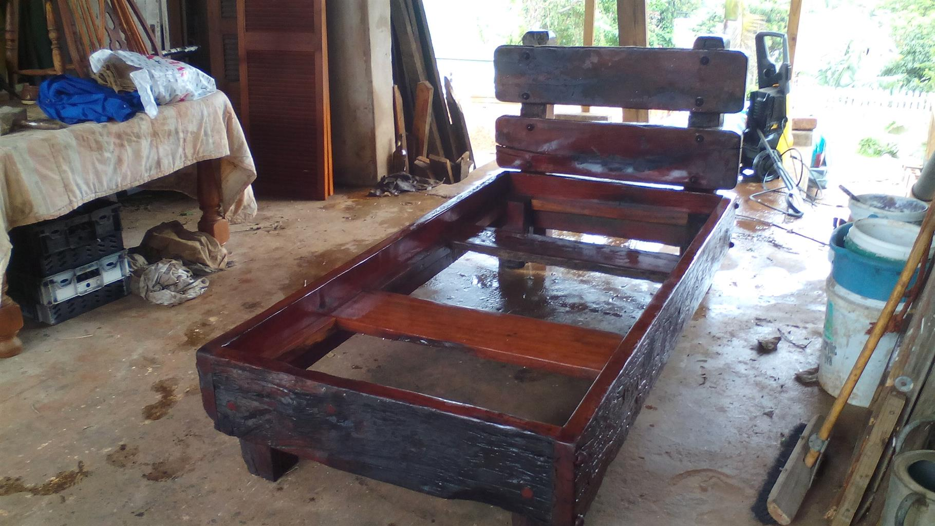 Solid teak single bed