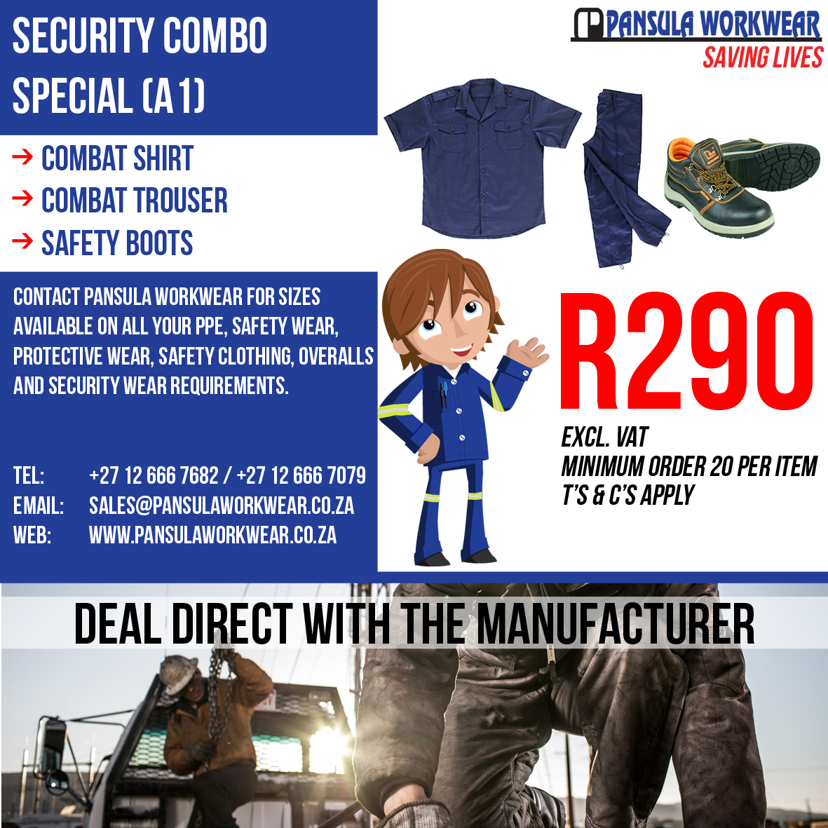 Workwear Supplier in Pretoria - Deal direct with the Manufacturer