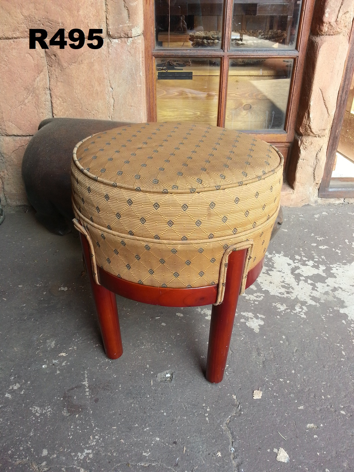 Round Vintage Dressing Table Stool (D 420 H 480)