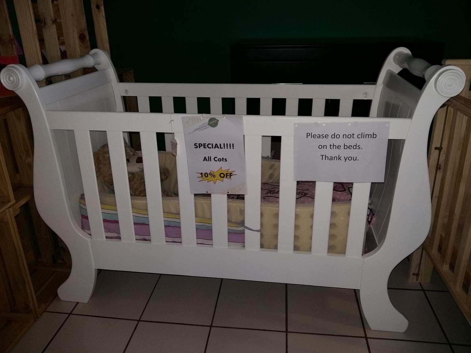 Pine Sleigh Cot - White - 10% OFF