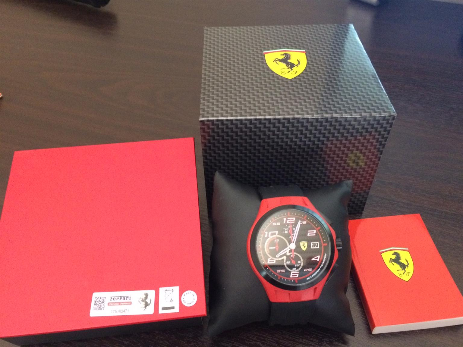 Ferrari 0830017 scuderia lap time chronograph black dial black men watch