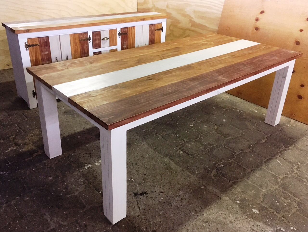 Dining table and Server combo Chunky Cottage series 2200 Weathered