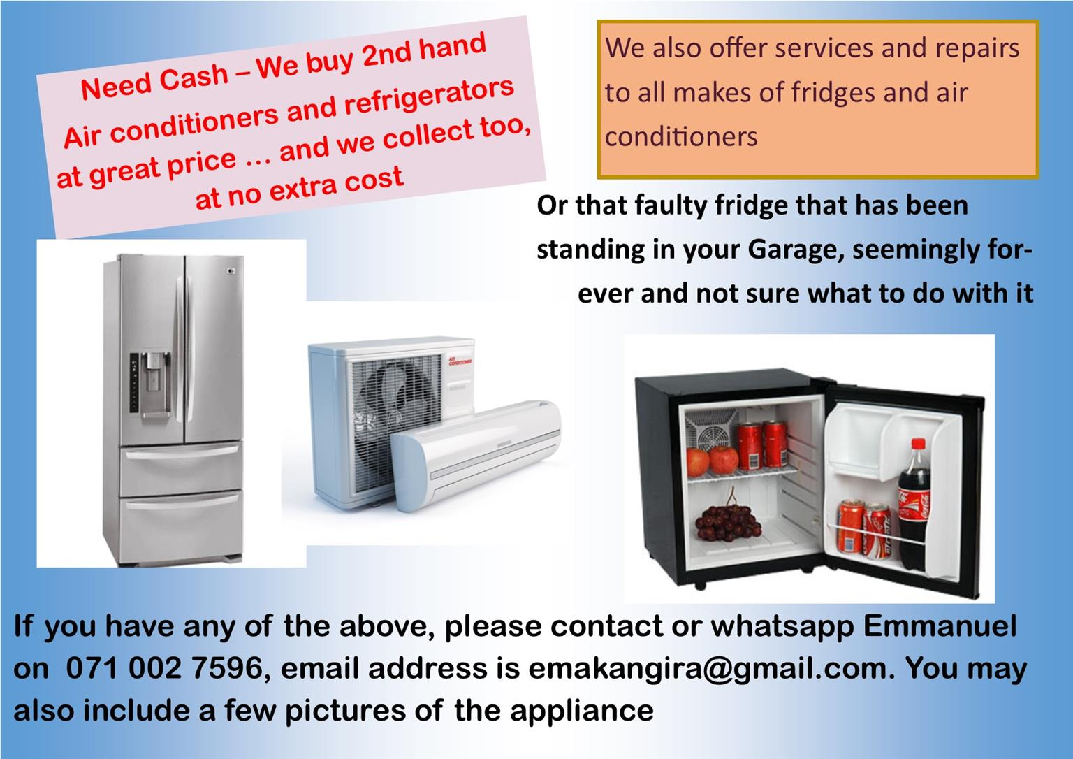 Need Some Cash This January - We buy 2nd Hand Fridges and Air Conditioners