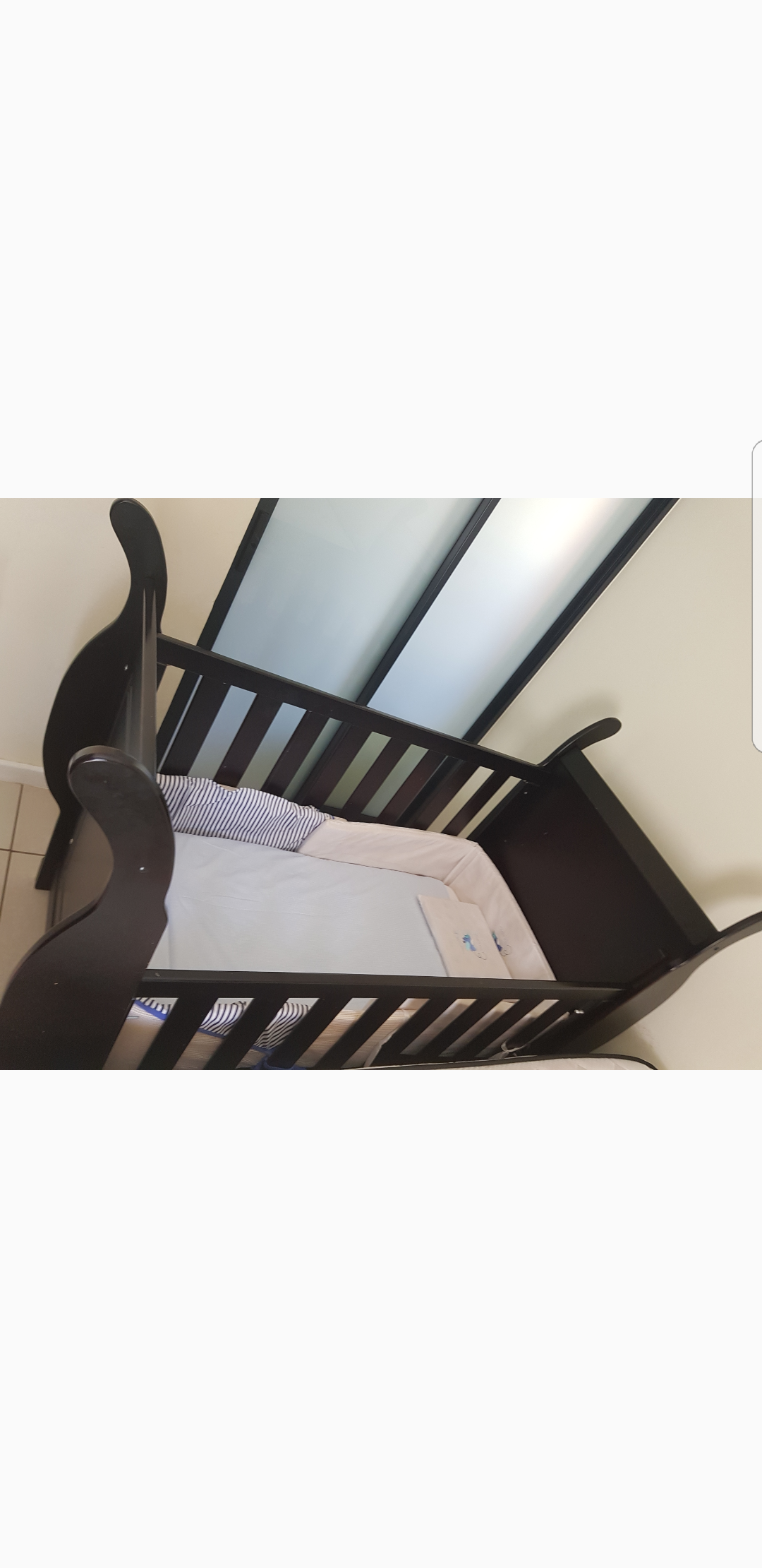 Sleigh dark wood cot 2300 contact Sarish 0835380362