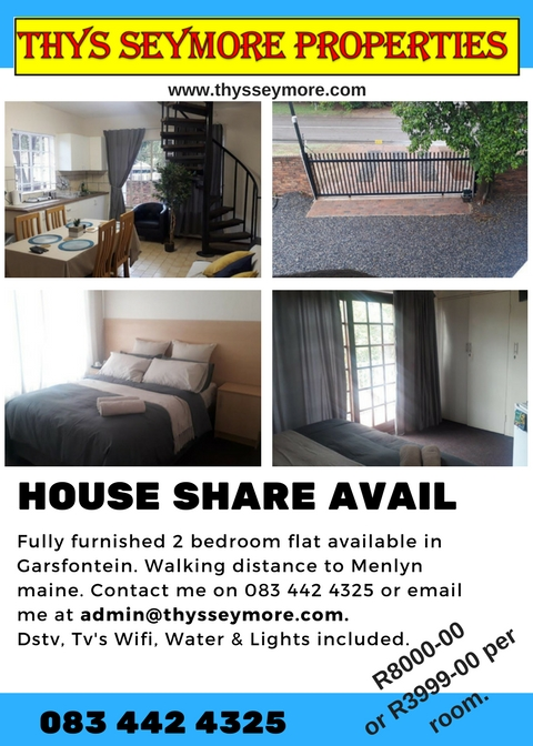 HOUSE SHARE AVAIL - 1km FROM MENLYN