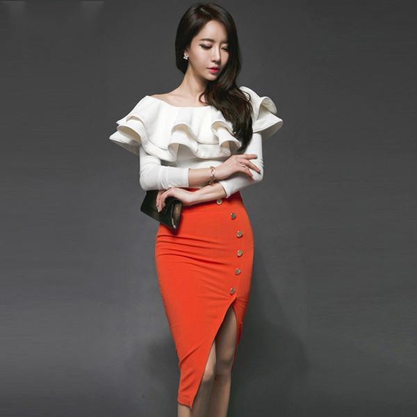 Ruffled Strapless Blouse & Knee-Length Pencil Skirt Suit (S-XL)