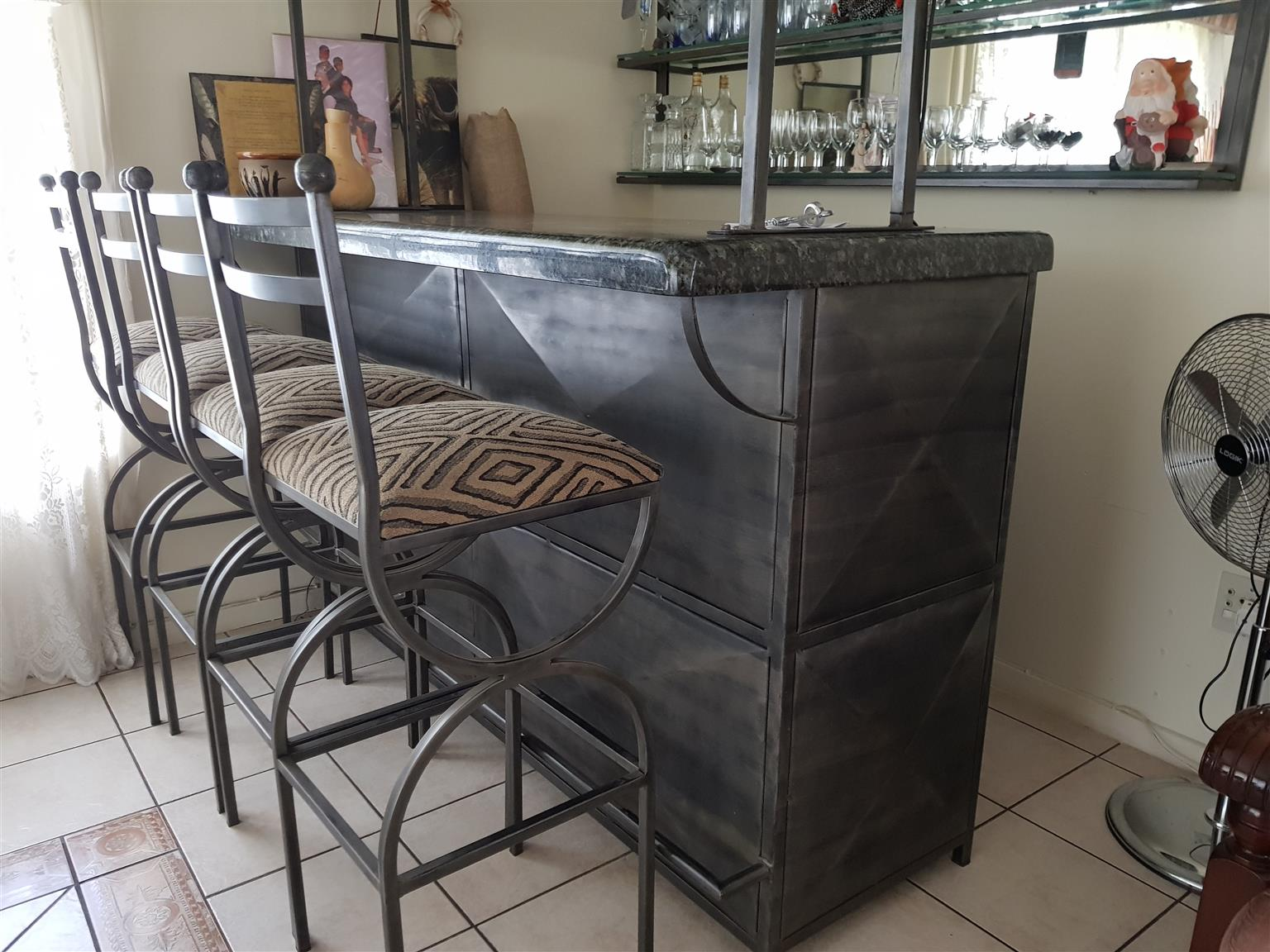 Home bar made of marble & steel