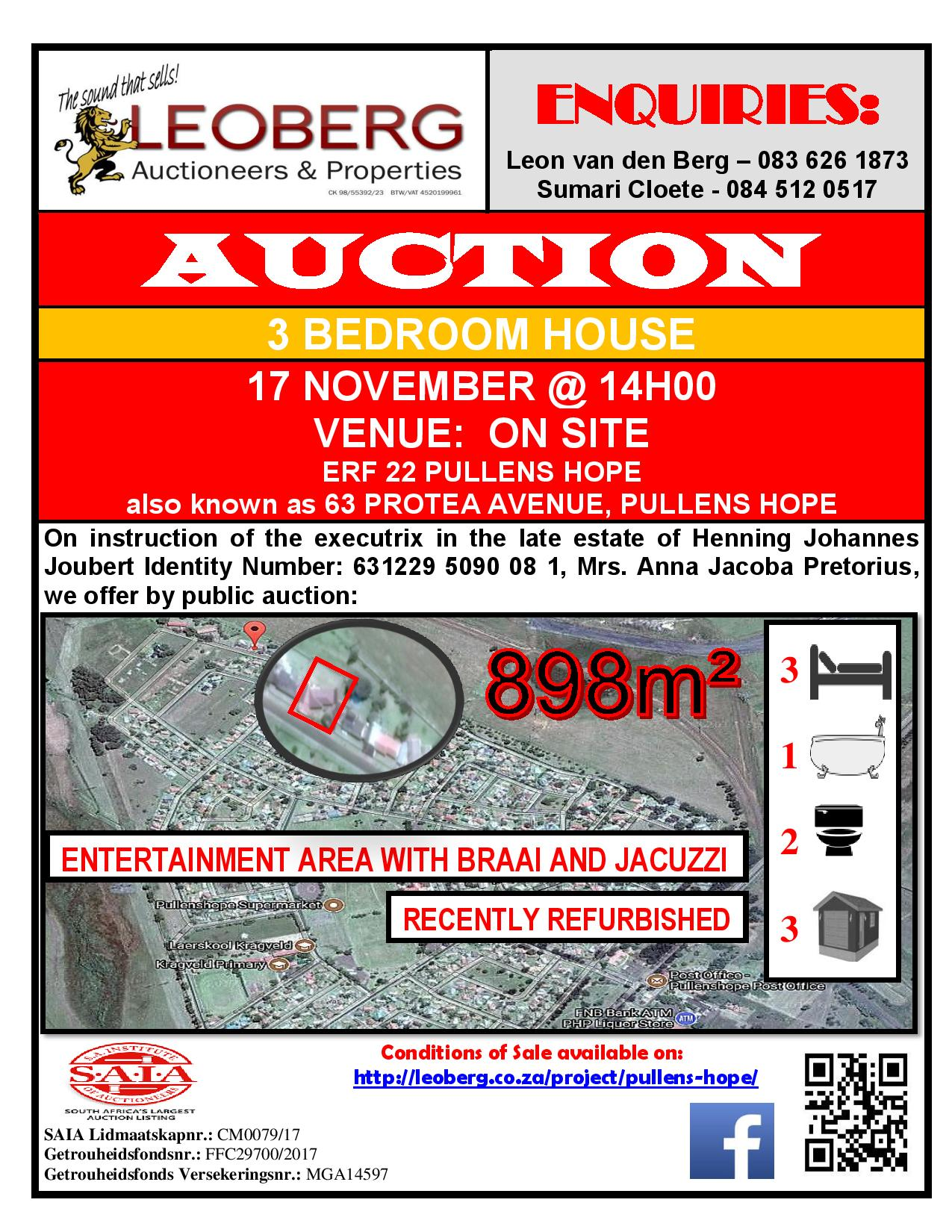 3 Bedroom House on Auction - 17 November 2017 @ 14h00