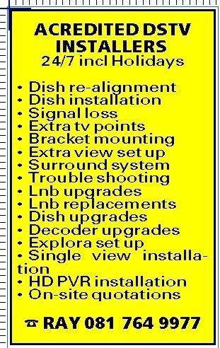 Dstv,Ovhd installer De Waterkant Call Ray on 0817649977