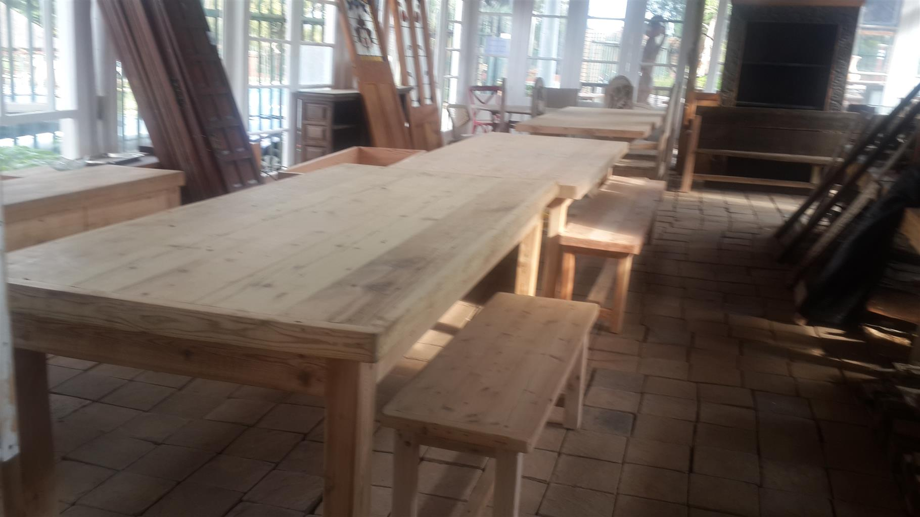 Solid Oregon pine tables