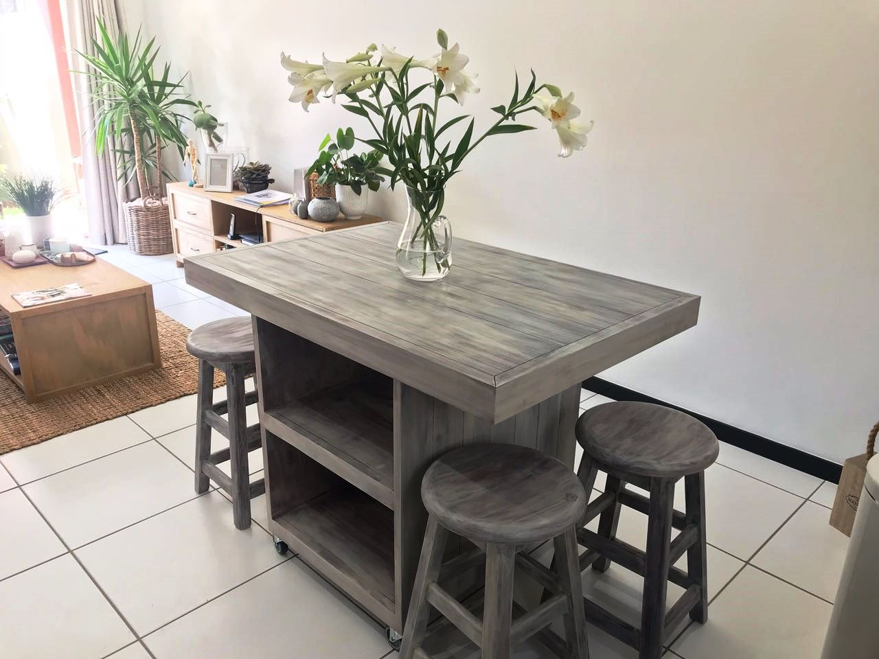 Kitchen Island Chunky Farmhouse series 1200 combo Grey washed