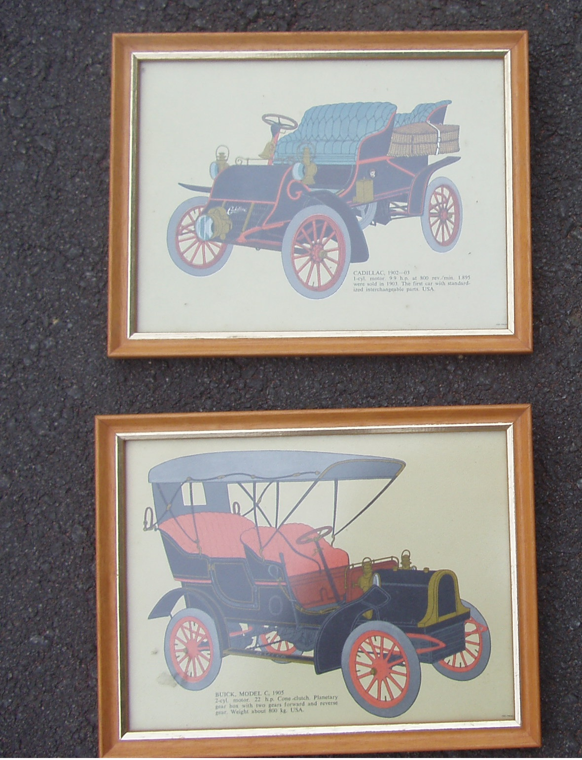 Vintage Car Pictures - Framed  - In excellent condition