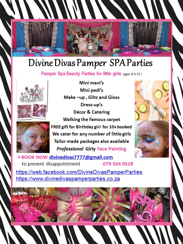 Divine Divas Pamper SPA Parties Mobile & DAY SPA  in Pretoria , Gauteng , Centurion BOOK NOW   Day Spa Packages