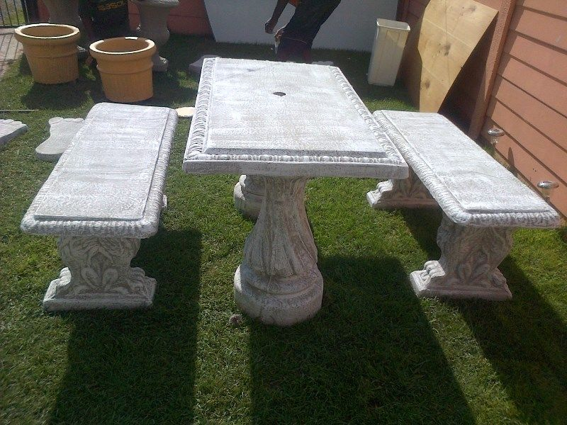 solid concrete pots . table set  for sale