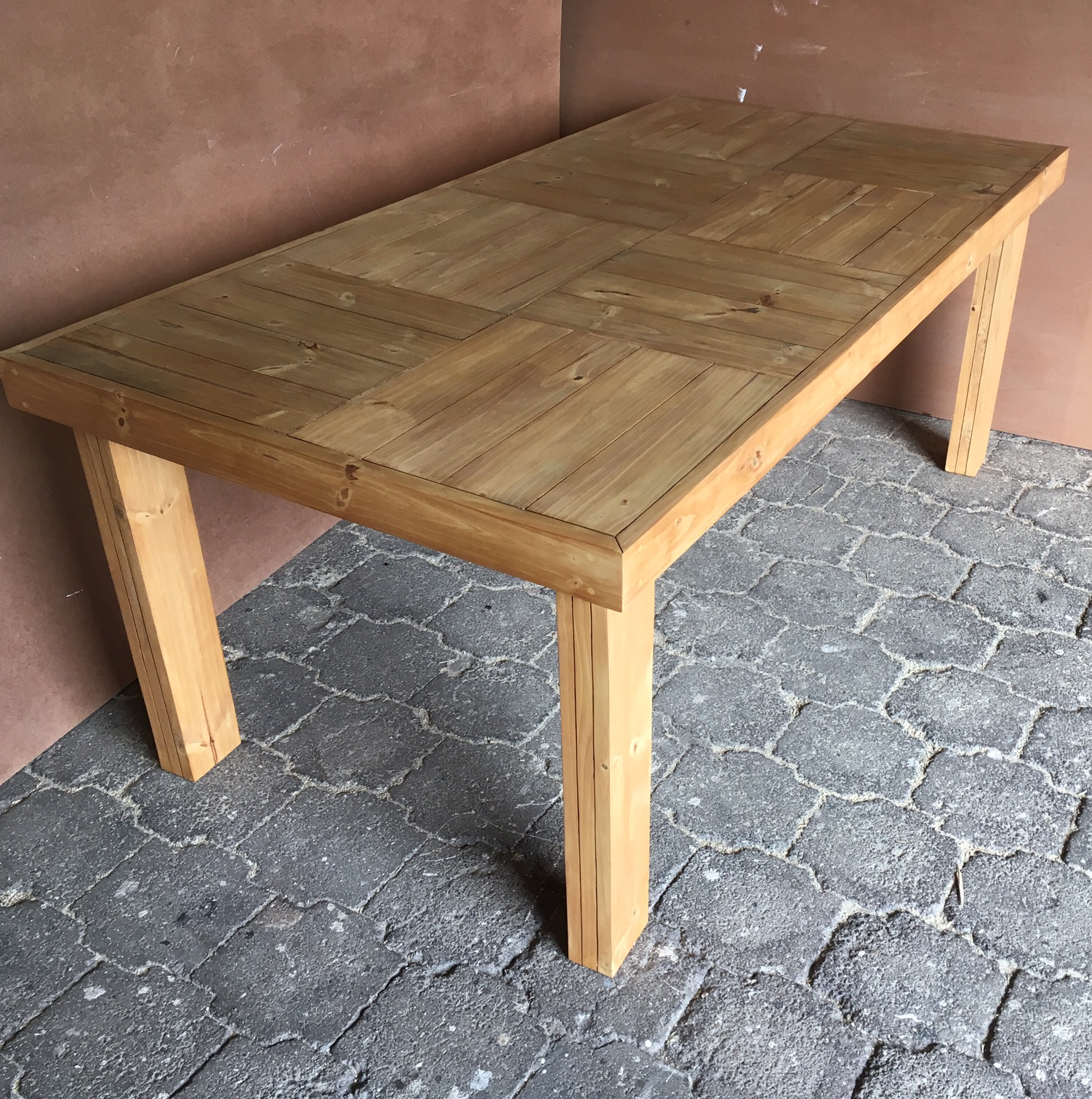 Patio table Farmhouse series 1915 Eight seater Stained