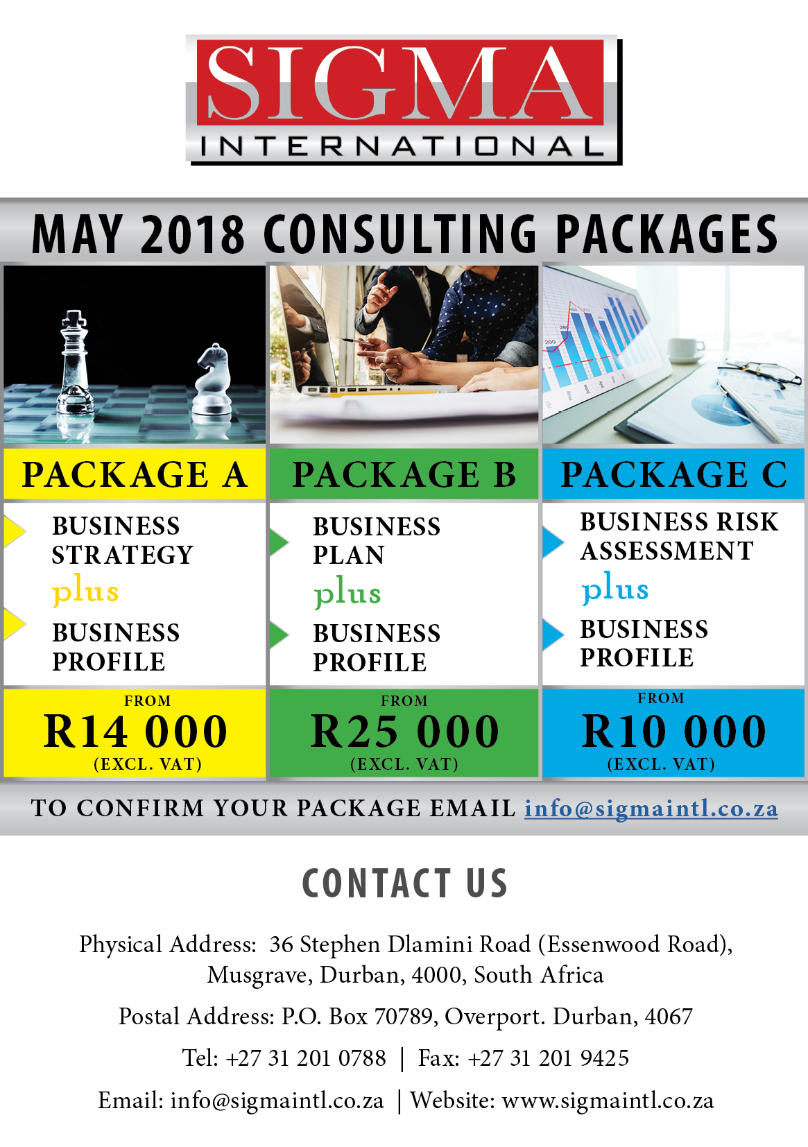 MAY 2018 CONSULTING PACKAGES