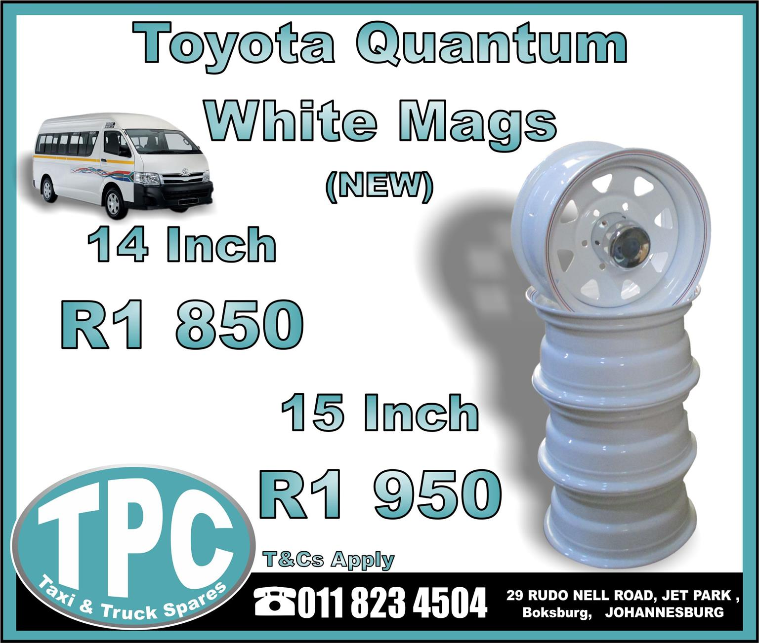 Toyota Quantum White Mags 14/15 Inch - NEW - New And Used Replacement Taxi Parts - TPC.