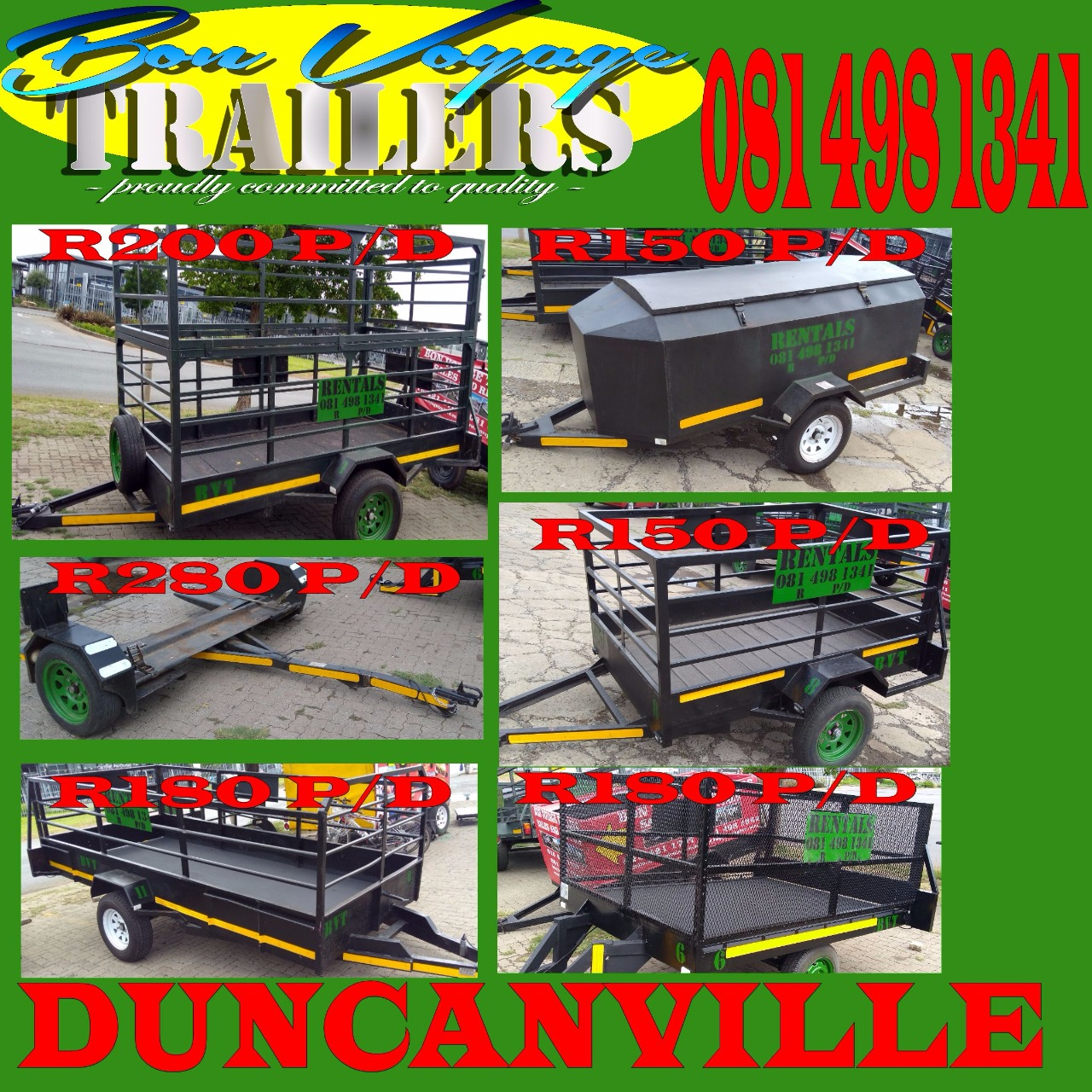 Trailer rental from R150 per day