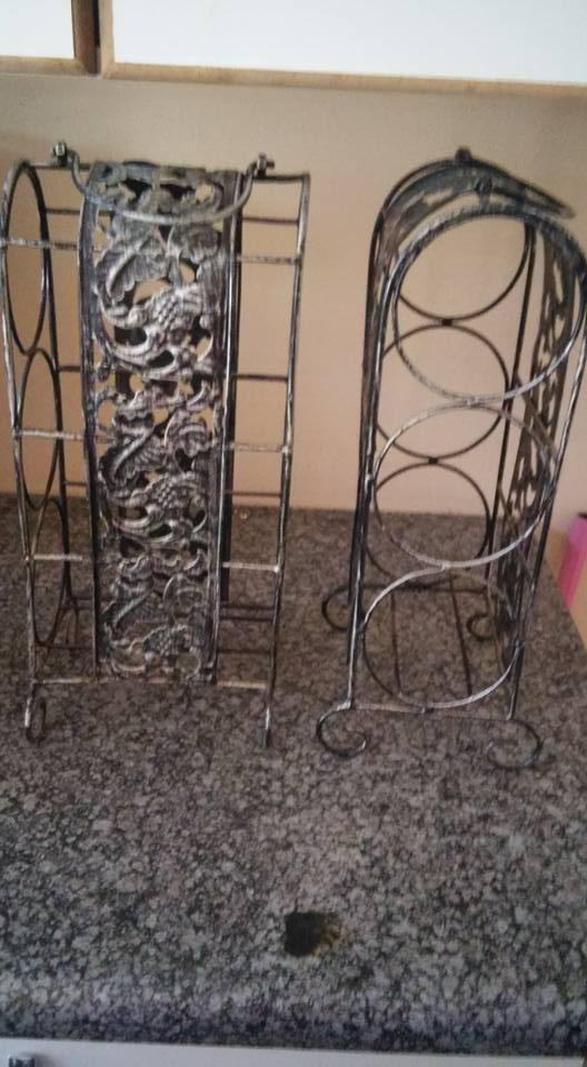 Steel wine bottle racks