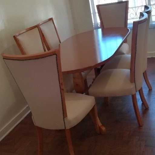 new cream dining set with pine