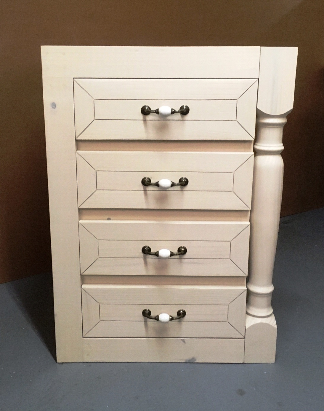Kitchen Cupboard Base unit Farmhouse series 600 with 4 drawers Stained