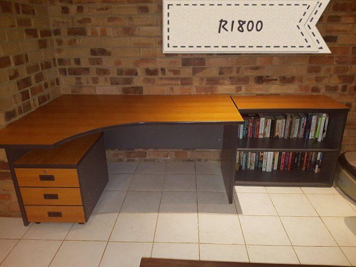 Corner wooden desk with added shelf