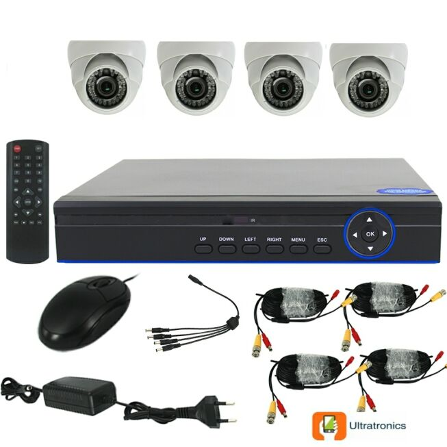 Full HD AHD CCTV Kit - 4 Channel CCTV DIY camera system - 4 Dome Cameras