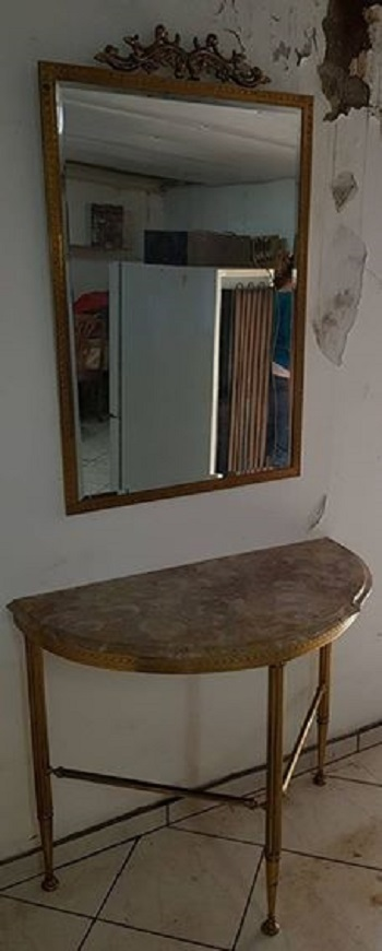 Marble table and mirror