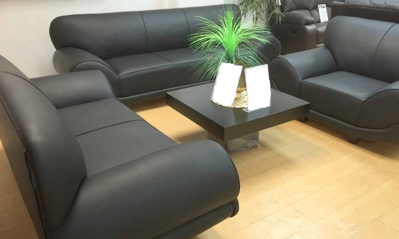 3pc California Lounge Suite (Black PU Leather)