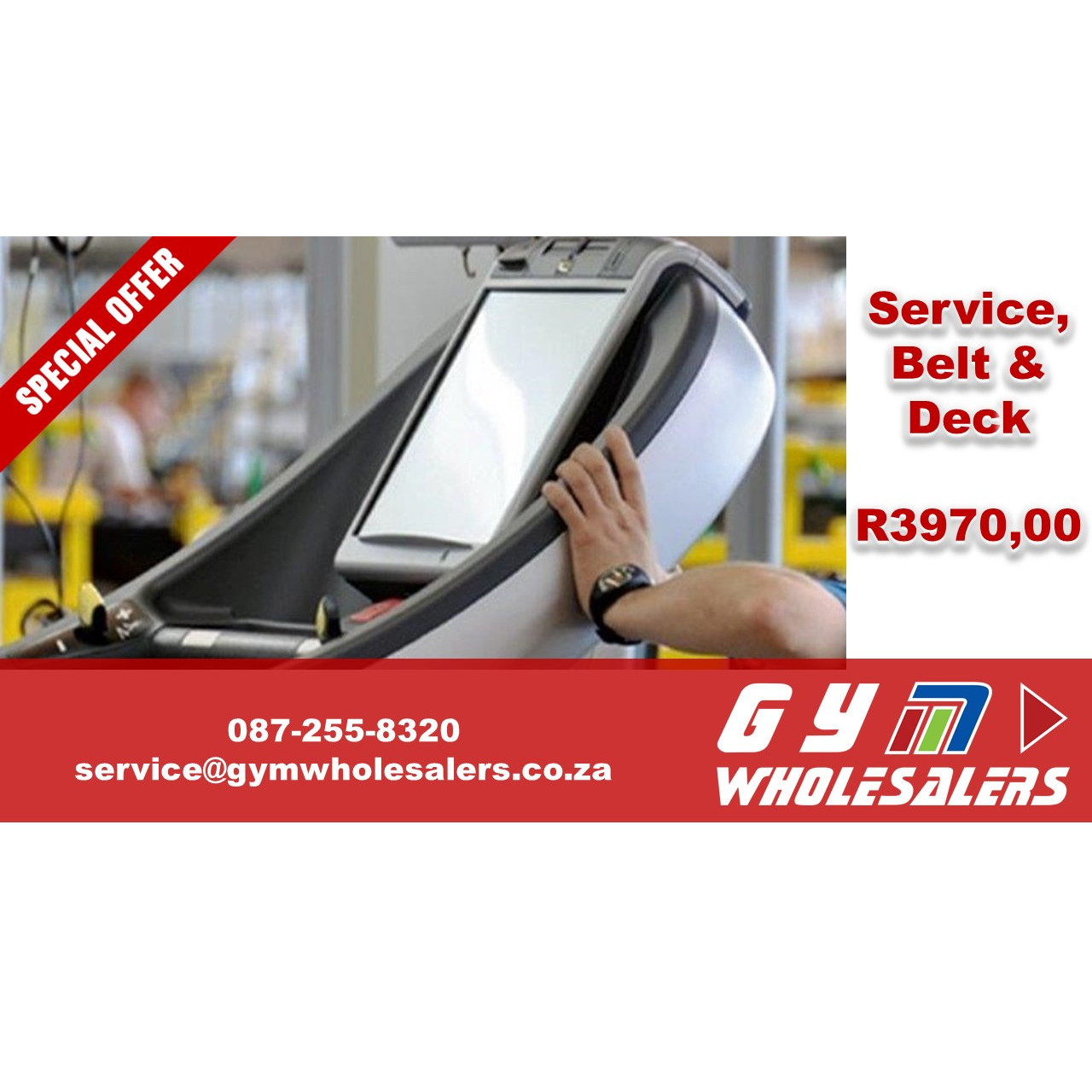 Full combo Service Special on your Treadmill for only R3 970.00