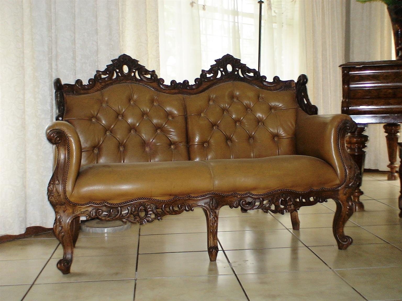 A Classic Versailles-Style Leather & Wood Lounge Suite