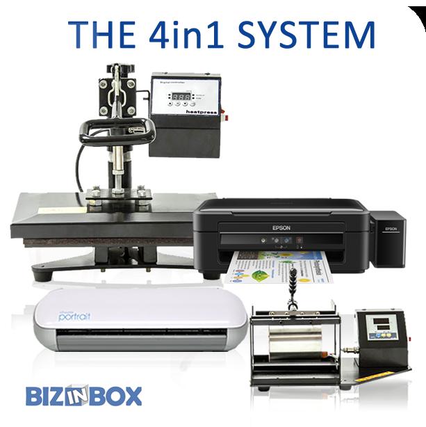 Flat press, Mug press, vinyl cutter and sublimation printer combo