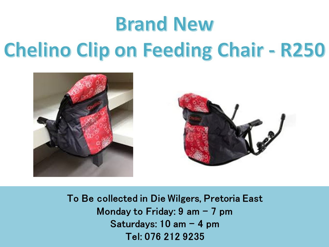 Brand New  Chelino Clip on Feeding Chair (Red and black)
