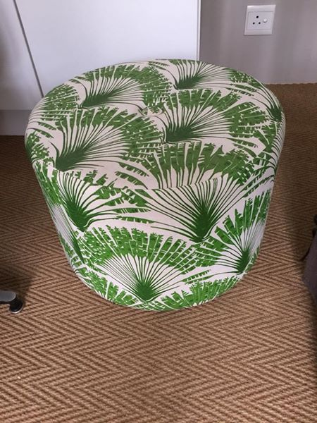 Christoper Farr Palm leaves ottoman and scatter cushion