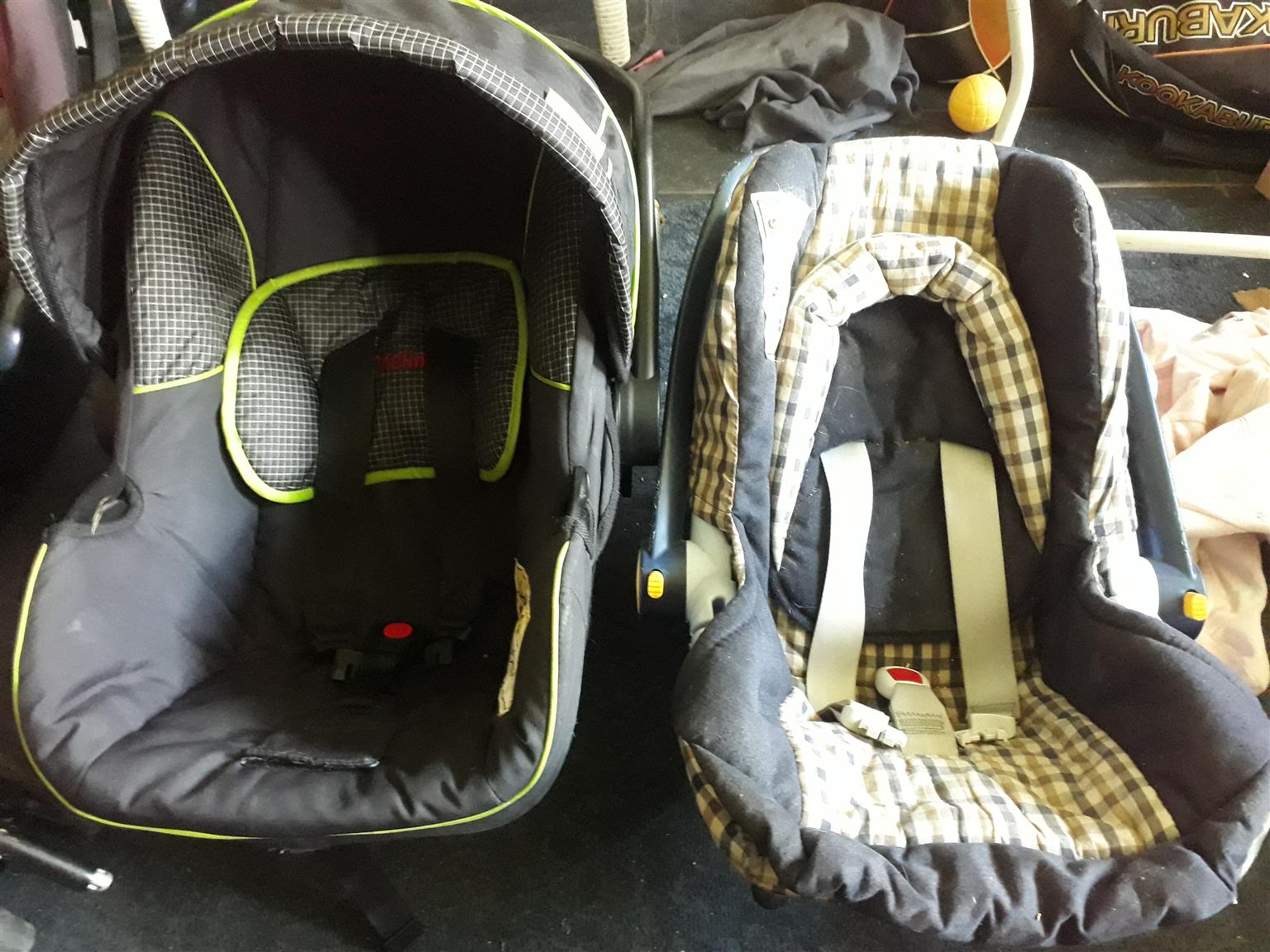 carry cots, twin pram and car seats