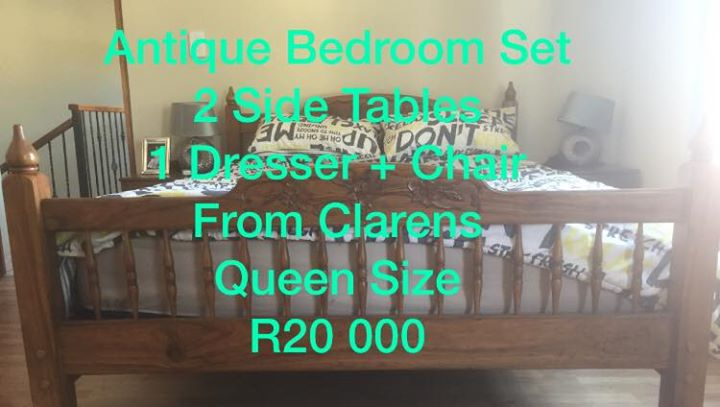 Sleeping Room set  - All the Way from Clarens, queen size.  - Headboard, Side tables, dressing table and chair. - R20 000 Price Neg. Russtenburg Whats app me at: #FBCVDW 0760882313