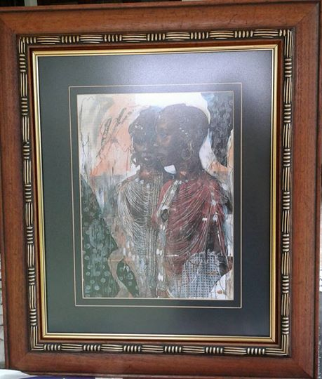 2 AFRICAN WOMEN PAINTING IN FRAME