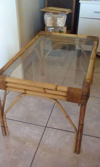 Cane glass top table