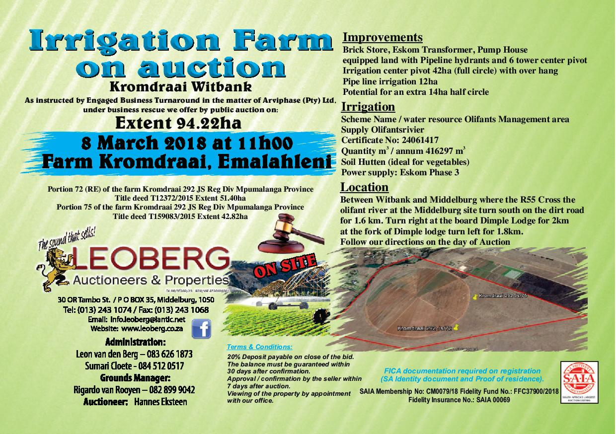 Irrigation Farm on Auction - 8 March 2018 at 11h00