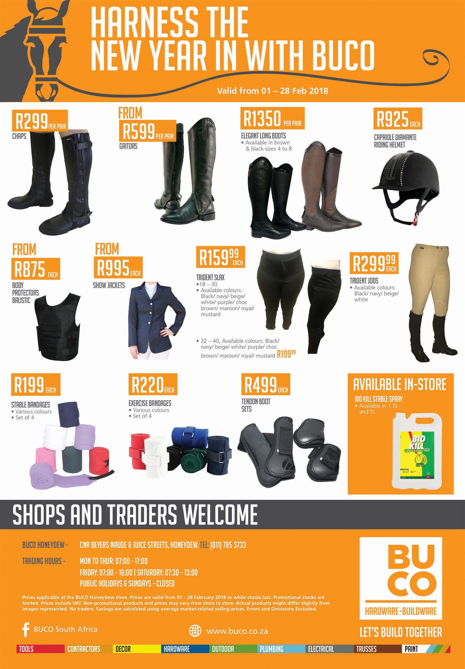 Buco Honeydew Saddlery Specials for Feb 2018