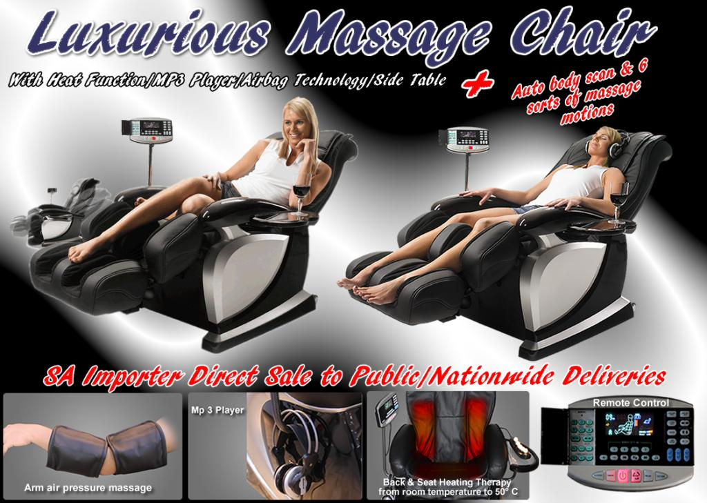 Luxurious massage chair with heat function /Mp3 player/airbag technology/Side table
