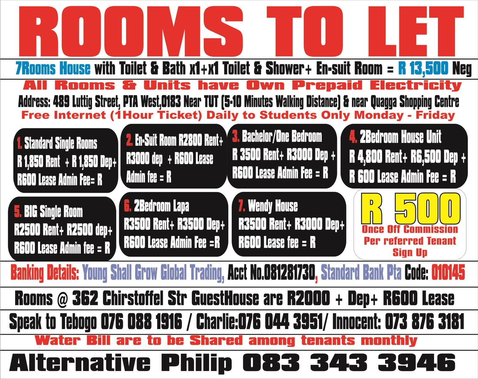 ROOMS,BACHELOR, HOUSE FOR RENT PRETORIA WEST FIXED RENTAL